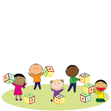 nursery room: Illustration with happy kids and colorful blocks Illustration