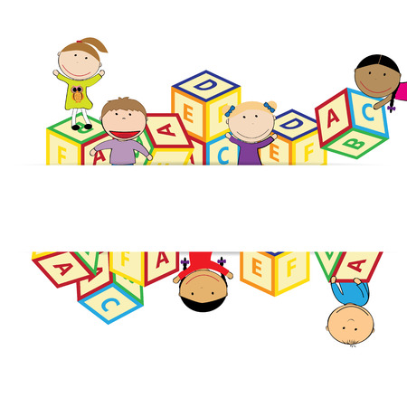 iillustration and painting: Illustration with happy kids and colorful blocks Illustration