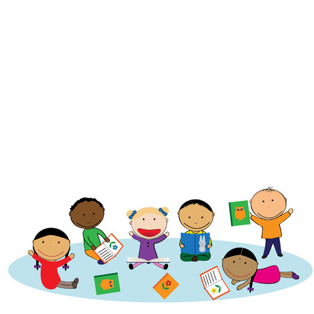 Illustration with happy kids and colorful books Vector Illustration
