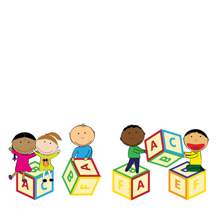 Illustration with happy kids and colorful blocks Vettoriali