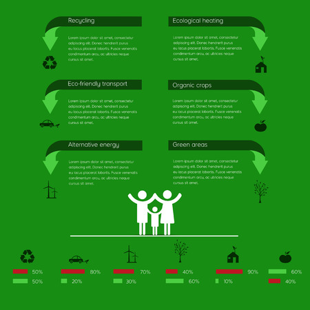 recycle area: Ecology infographics, symbols, graphic vector elements