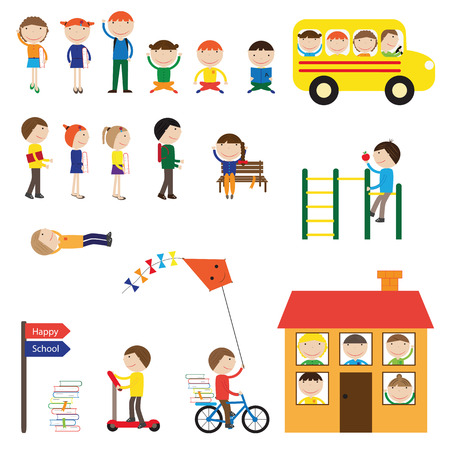 Happy girls and boys back to school - elements. Illustration