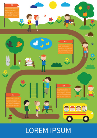 Infographic show happy kids back to school Illustration