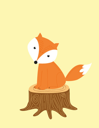 bee party: Fox on the trunk - kids poster Illustration