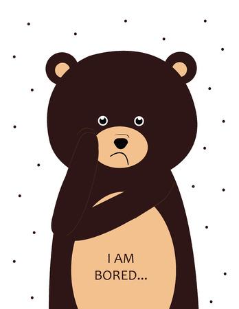 animales del bosque: oso aburrido dulce - niños del cartel Vectores