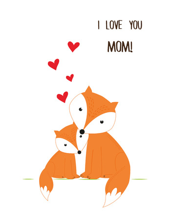 bee birthday party: Sweet foxes - cute greeting card. Illustration
