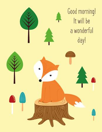 animales del bosque: Buenos días, será maravilloso día. Vectores