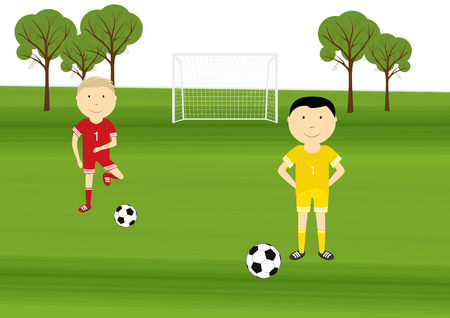 playing soccer: Happy boys playing soccer on the sport field Illustration