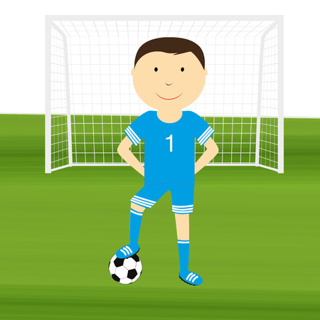lag: Happy boy is playing football Illustration