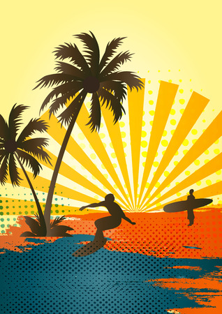 surfing beach: Sun, waves and ocean - Happy best time