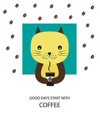 caffee: Good days - colorful poster with cat Illustration