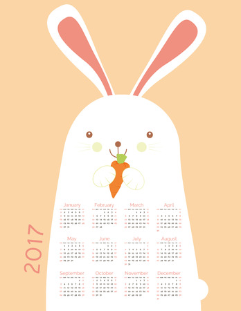 school years: Cute calendar for the New Year 2017