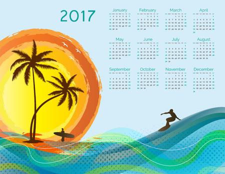 Cute calendar for the New Year 2017