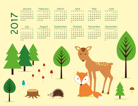 calendario escolar: Calendario lindo para el Año Nuevo 2017 Vectores