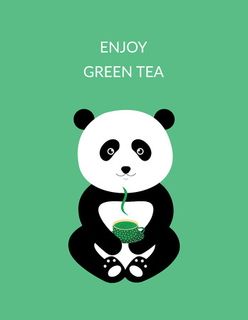 Green tea - Sweet poster with panda Illustration