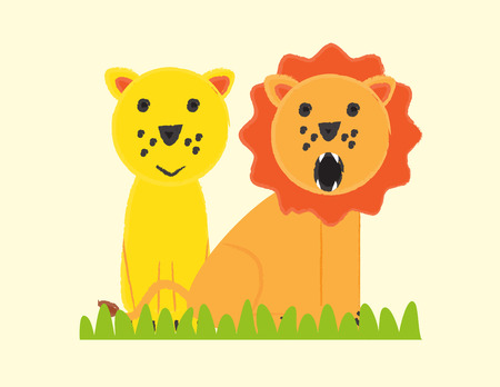 Lion family - colorful kids poster Illustration