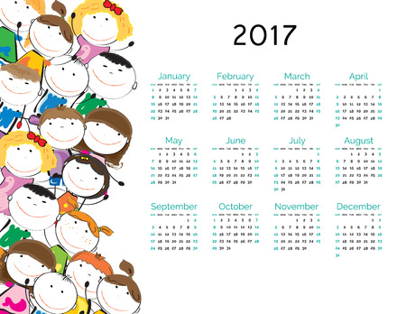 Cute calendar for the New Year 2017