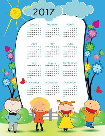 december calendar: Cute calendar for the New Year 2017