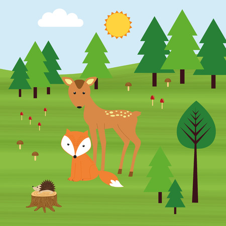 Roe deer, fox and hedgehog in the forest.