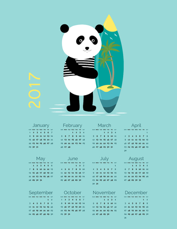 Cute Calendar for the New Year 2017 Illustration