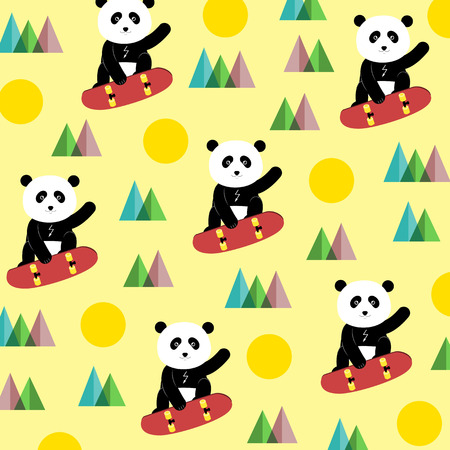 Happy panda rising on a skateboard over the top.