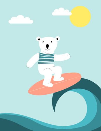 Happy polar bear surfing on high waves