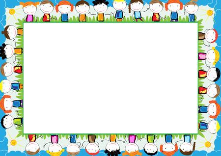 Kolorowa ramka dla dzieci z szczęśliwych chłopców i dziewcząt Ilustracje wektorowe