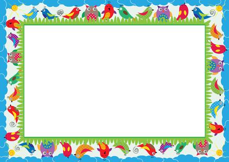 Farbiger Rahmen für Kinder mit Vögeln Standard-Bild - 60451954