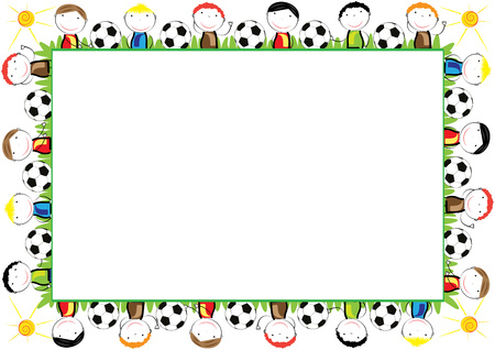 Colored frame for children with happy boys 版權商用圖片 - 60451955