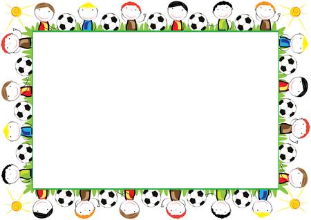 Kolorowa ramka dla dzieci z szczęśliwych chłopców