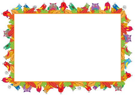 Colored frame for children with birds and autumn leaves.