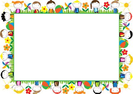 zeichnen: Farbige Rahmen für Kinder mit glücklichen Jungen und Mädchen Illustration