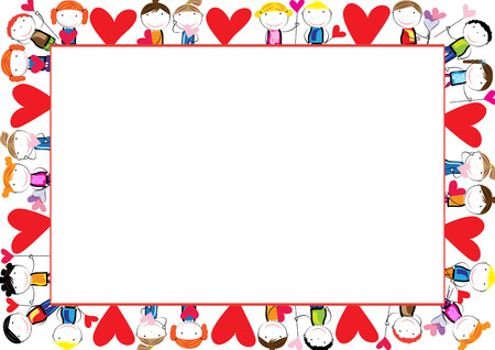 Colored frame for children with hearts
