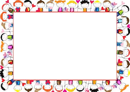Gekleurde frame voor kinderen met gelukkige jongens en meisjes