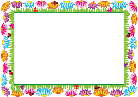 花と蝶児色フレーム  イラスト・ベクター素材