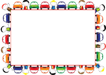Colored frame for children with cars