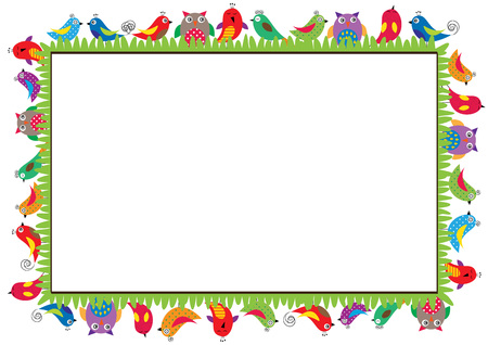 Colored frame for children with birds Stock Illustratie