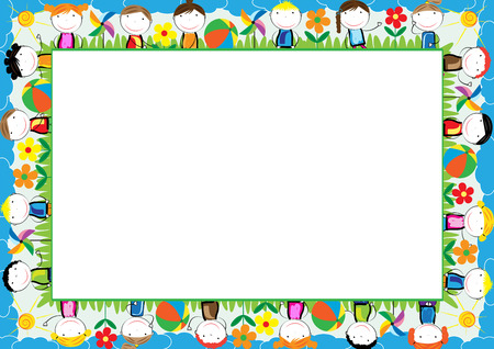 Colored frame for kids with happy boys and girls