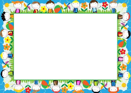cornice colorata per i bambini con i ragazzi e le ragazze felici Vettoriali