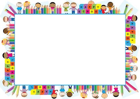 zeichnen: Farbige Rahmen für das Schuljahr Illustration