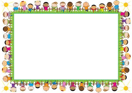 Gekleurde frame met gelukkige jongens en meisjes