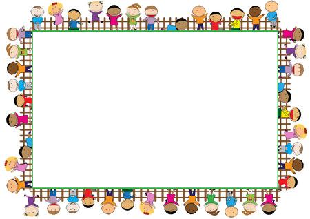 marco de color con los niños y niñas felices Ilustración de vector