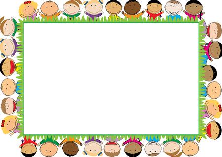 Cadre de couleur avec les garçons et les filles heureuses Banque d'images - 60451973