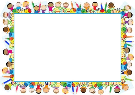 Gekleurde frame voor het schooljaar.