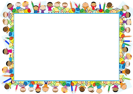 marcos decorativos: Marco de color para el año escolar. Vectores