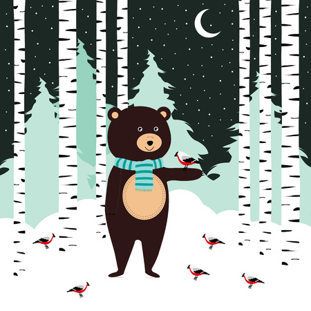 Winter card with cute bear and birds