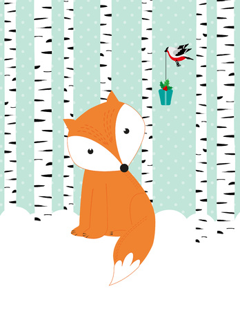 Winter card with cute fox and bird Illustration