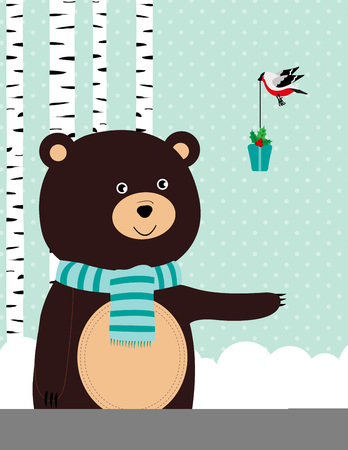 Winter card with cute bear and bird
