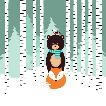 Winter card with bear, fox and bird