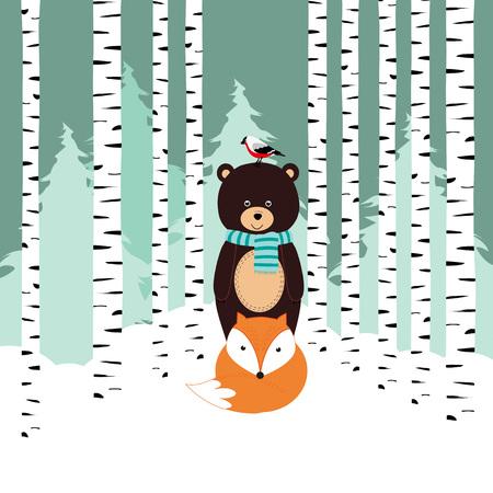 x mas: Winter card with bear, fox and bird